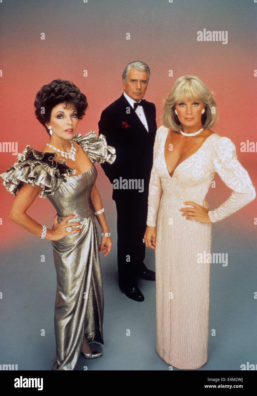 DYNASTY  Aaron Spelling US TV series (1981-89) from left: Joan Collins, John Forsythe and Linda Evans - Stock Image