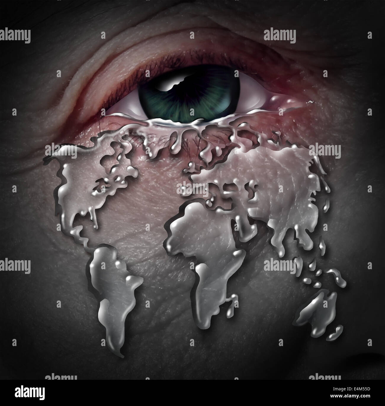 Global crisis and globe stress with a human tear drop flowing from a sad depressed eye shaped as a world map as - Stock Image