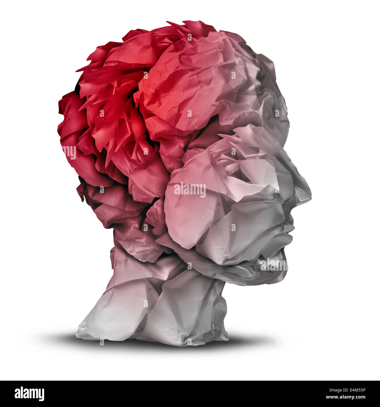 Head injury and traumatic brain accident medical  and mental health care concept with a group of crumpled office - Stock Image
