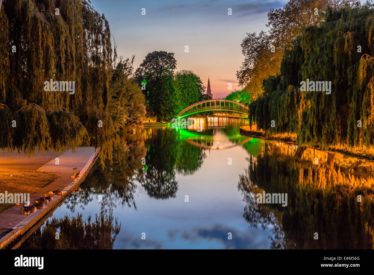 Bedford Suspension Bridge on the Great River Ouse - Stock Image