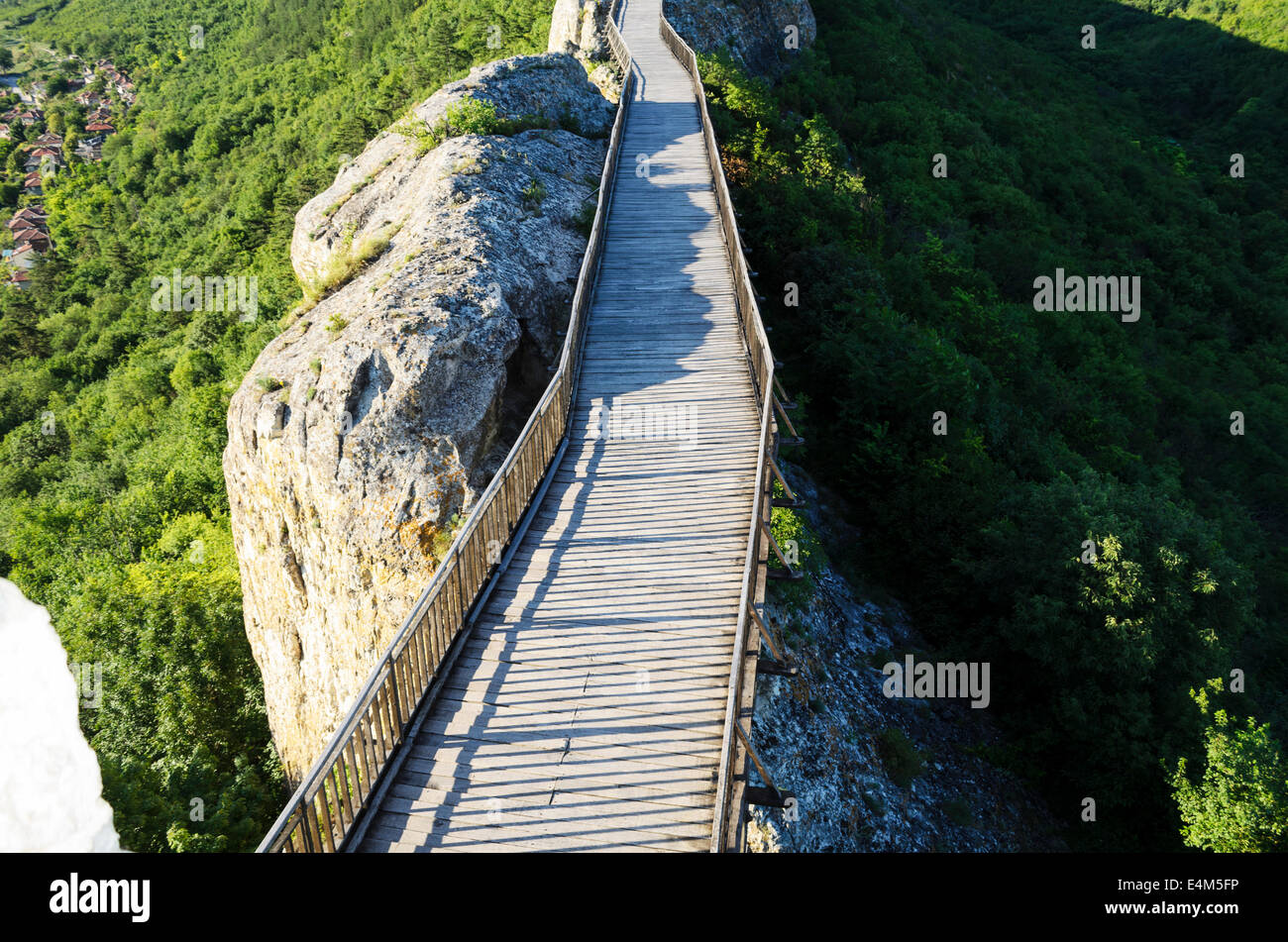 Wooden Bridge With Rock near Provadia Stock Photo