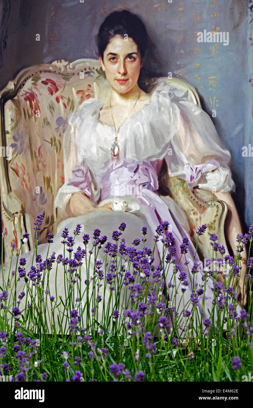 A copy of Lady Agnew of Lochnaw  (1892-3), by John Singer Sargent in the herb garden outside the National Gallery - Stock Image