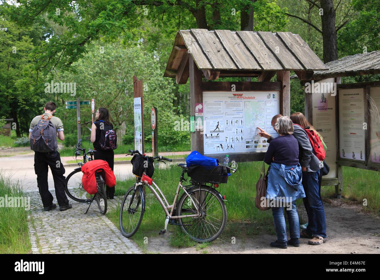 Biker in Undeloh, Lueneburger Heath, Lower Saxony, Germany, Europe - Stock Image