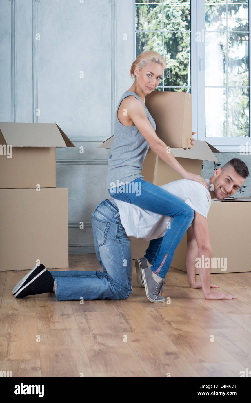 Removal is not easy thing Stock Photo