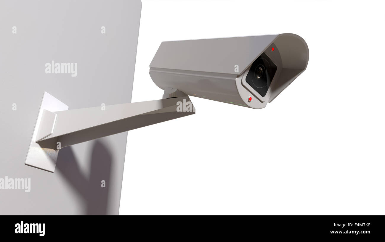 A white wireless surveillance camera with illuminated lights mounted on an isolated white wall with copy space - Stock Image