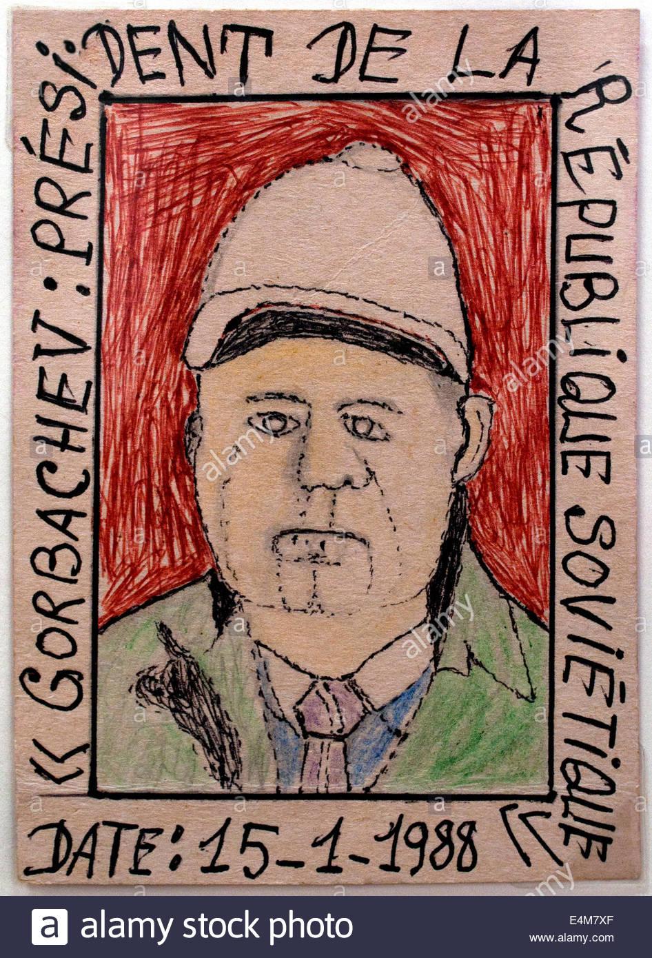 Mikhail Sergeyevich Gorbachev (Russian President Russia)  by Frédéric Bruly Bouabre 1923-2014 Ivory Coast - Stock Image