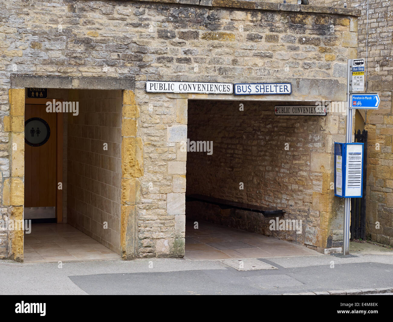 Public Conveniences and Bus Shelter, Stow-on-the-Wold, Gloucestershire - Stock Image