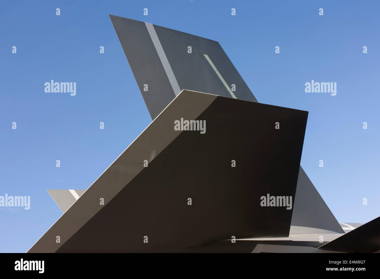 Detail of stealth technology surfaces on a Lockheed-Martin F-35 II Joint Strike Fighter at the Farnborough Air Show, - Stock Image