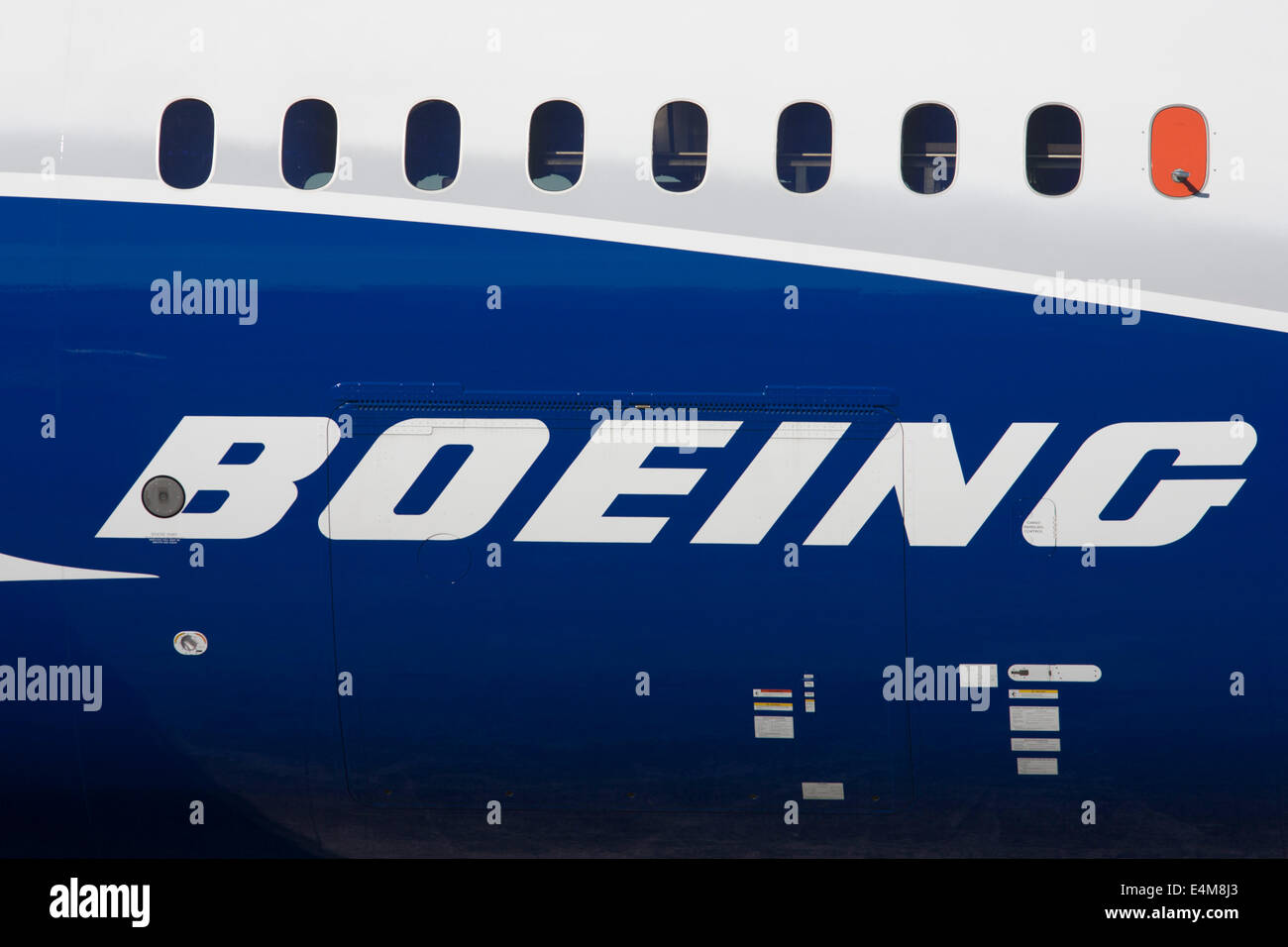 Detail of a Boeing 787-9 Dreamliner jet airliner fuselage at the Farnborough Air Show, England. The Boeing 787-9 - Stock Image