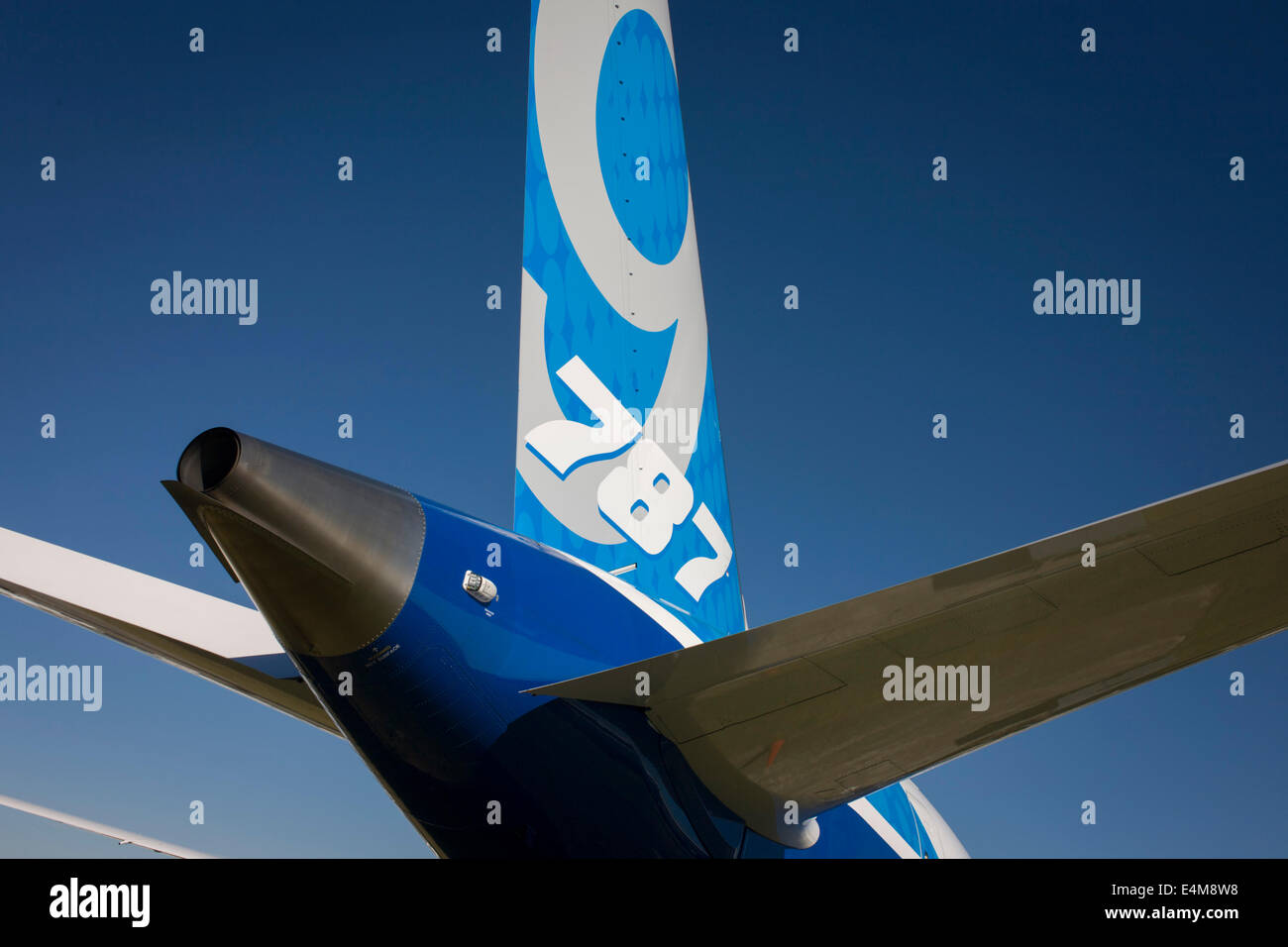 Detail of a Boeing 787-9 Dreamliner jet airliner tailplane at the Farnborough Air Show, England. The Boeing 787 - Stock Image