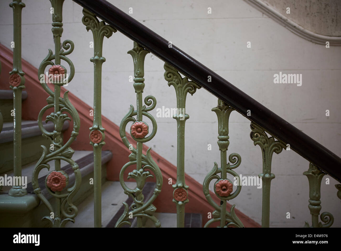 Close Up Detail Of Old Metal Decorative Stair Spindles   Stock Image