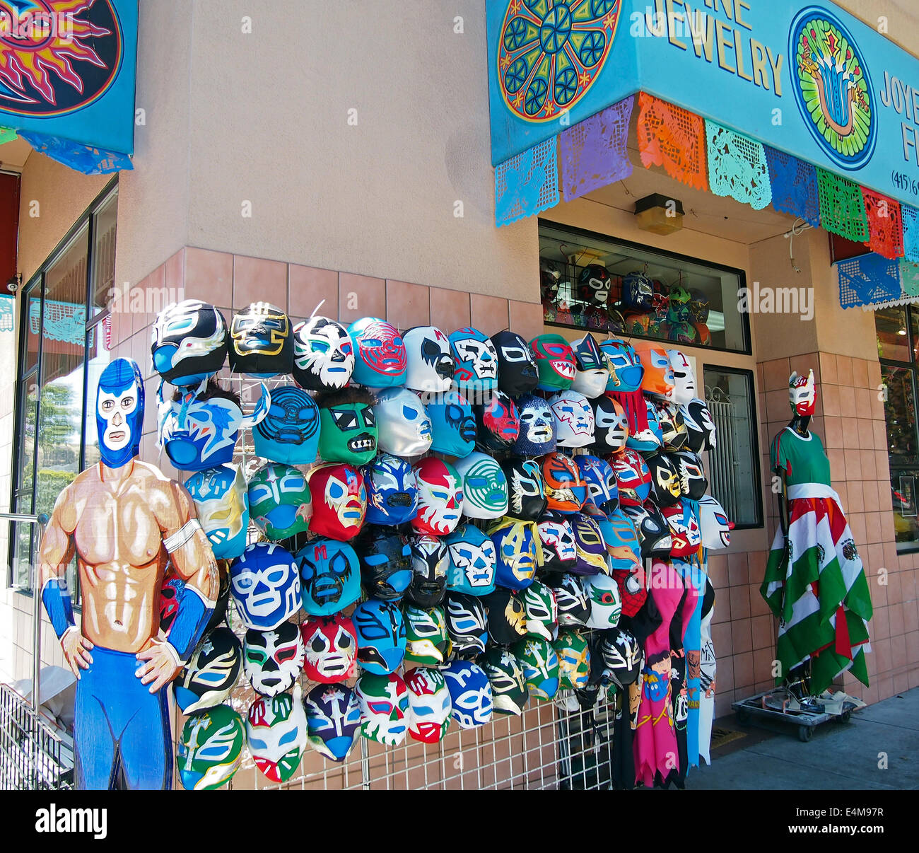 Mexican wrestling masks for sale, Mission District, San Francisco - Stock Image