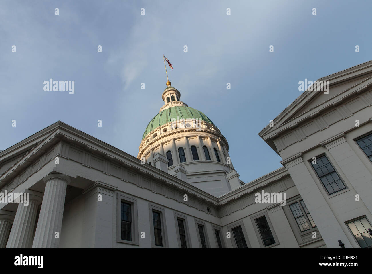 View of part of the green dome court room building in St Louis Missouri USA with a spectacular angle - Stock Image