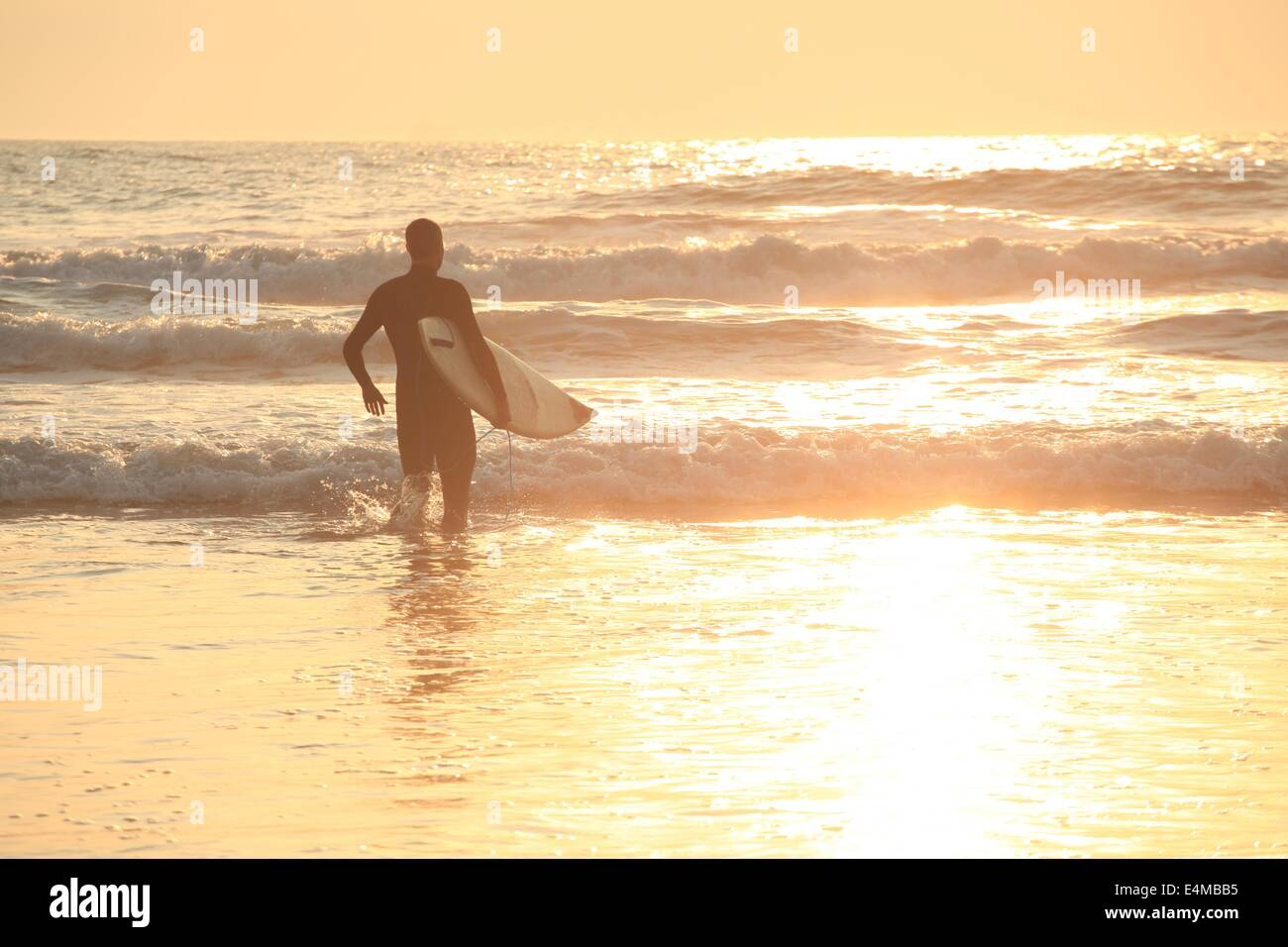 A surfer in the waves at sunset on Ocean Beach in San Francisco, California - Stock Image