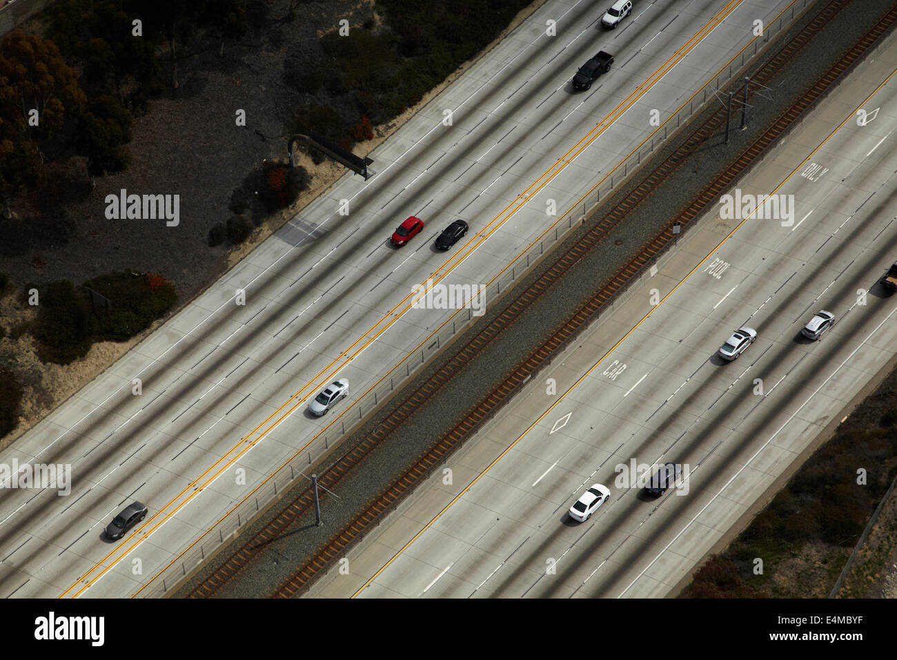 Interstate 105 or I-105, aka Glenn Anderson Freeway and Century Freeway, Holly Park, Los Angeles, California, USA - Stock Image