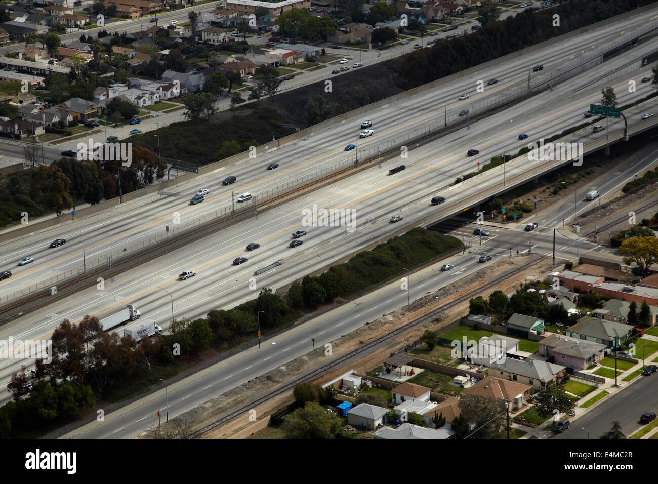 Interstate 105 or I-105, aka Glenn Anderson Freeway and Century Freeway, West Athens, Los Angeles, California, USA - Stock Image