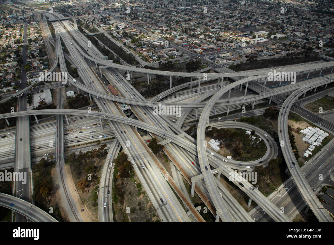 Judge Harry Pregerson Interchange, junction of I-105 and I-110 (Glenn Anderson Freeway and Harbor Freeway), Los - Stock Image