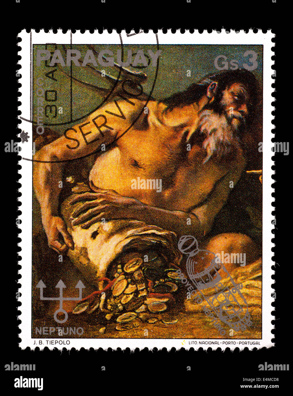 Postage Stamp From Paraguay Depicting Neptune Detail A J B Tiepolo Painting