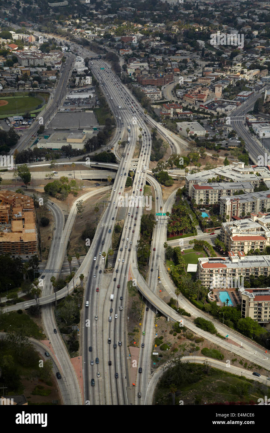 El Camino Real (US Route 101, or US Highway 101), crossing Harbor Freeway (Interstate 110 or I-110), Downtown Los - Stock Image