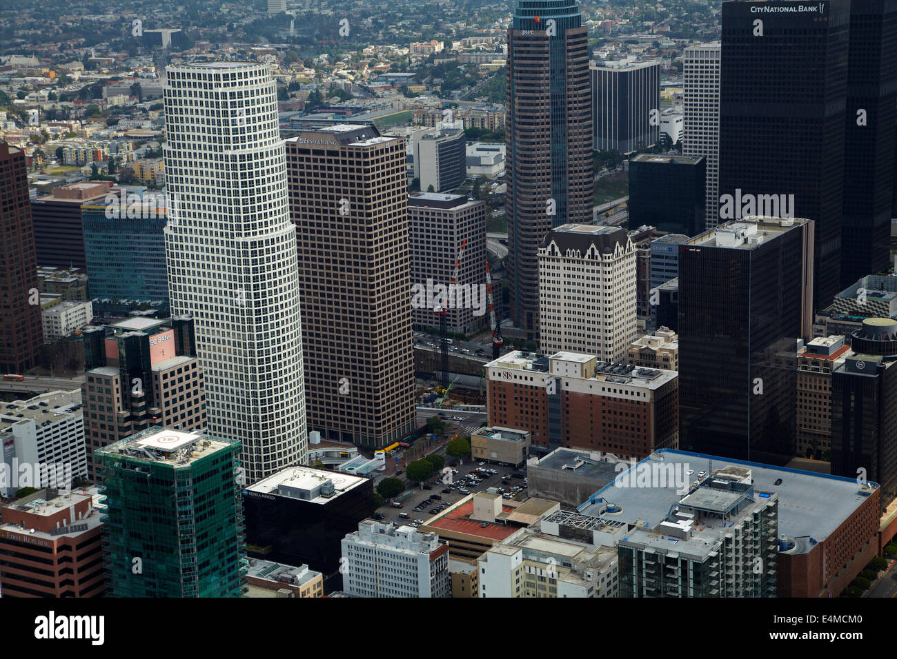Downtown Los Angeles, including 777 Tower on left, California, USA - aerial - Stock Image