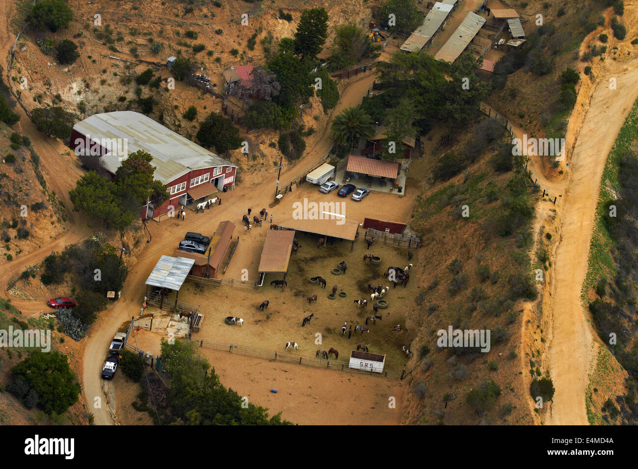 Sunset Ranch Stables, Hollywood Hills, Los Angeles, California, USA - aerial Stock Photo