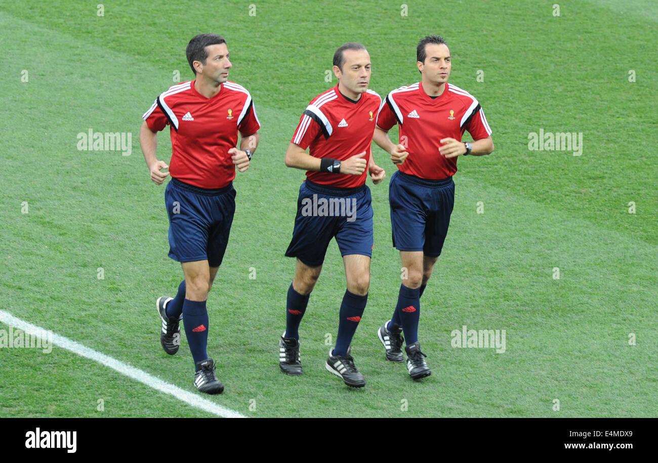Sao Paulo, Brazil. 9th July, 2014. (L-R) Tarik Ongun, Cuneyt Cakir, Bahattin Duran (Referee) Football/Soccer : Referee Stock Photo