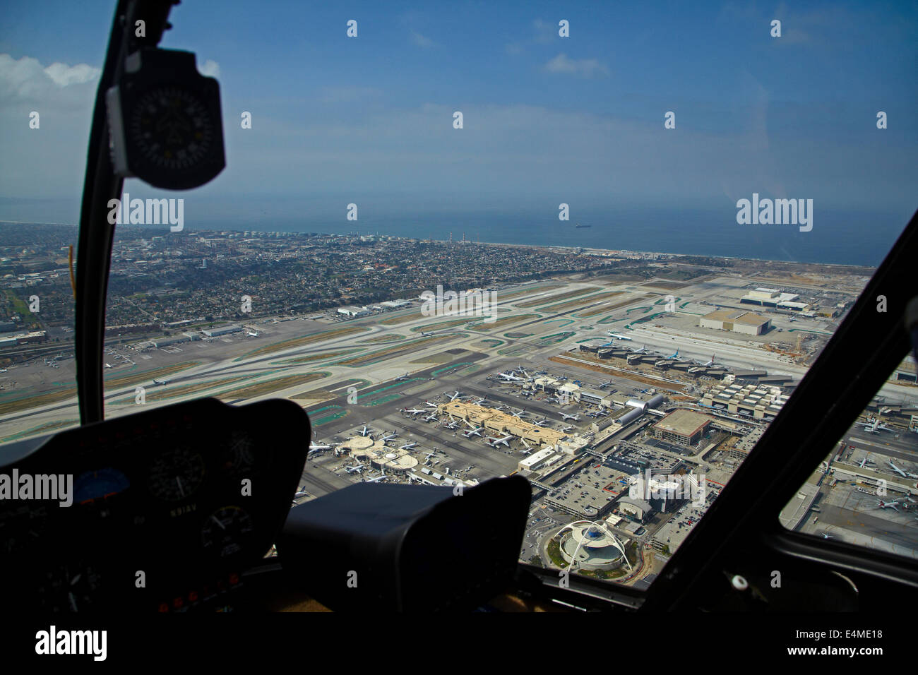 Helicopter over Los Angeles International Airport (LAX), Los Angeles, California, USA - aerial - Stock Image
