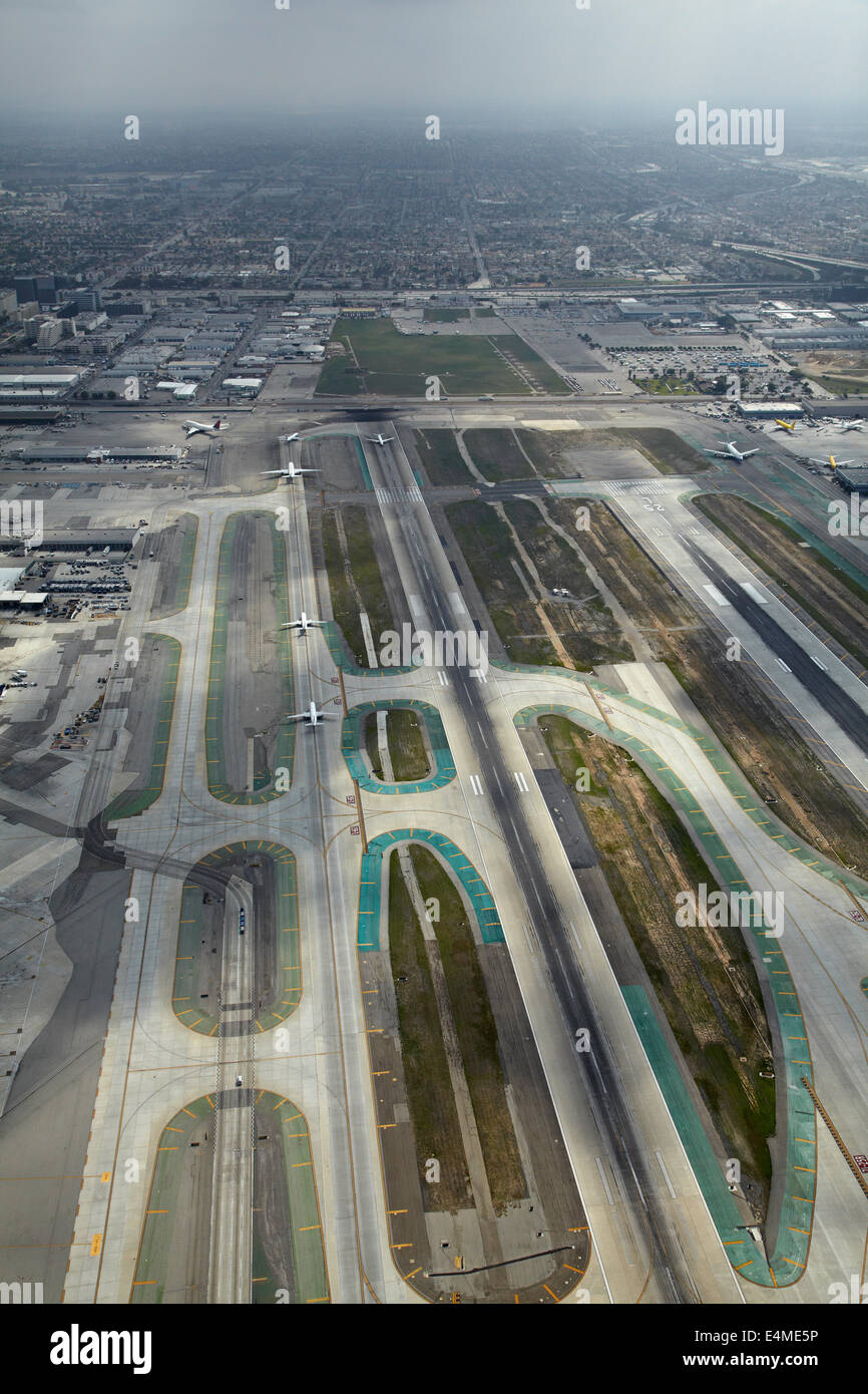 Planes queueing to take off at Los Angeles International Airport (LAX), Los Angeles, California, USA - aerial - Stock Image