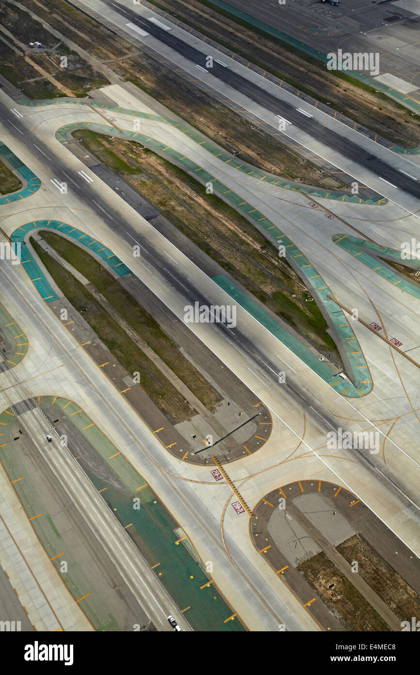 Runways at Los Angeles International Airport (LAX), Los Angeles, California, USA - aerial - Stock Image
