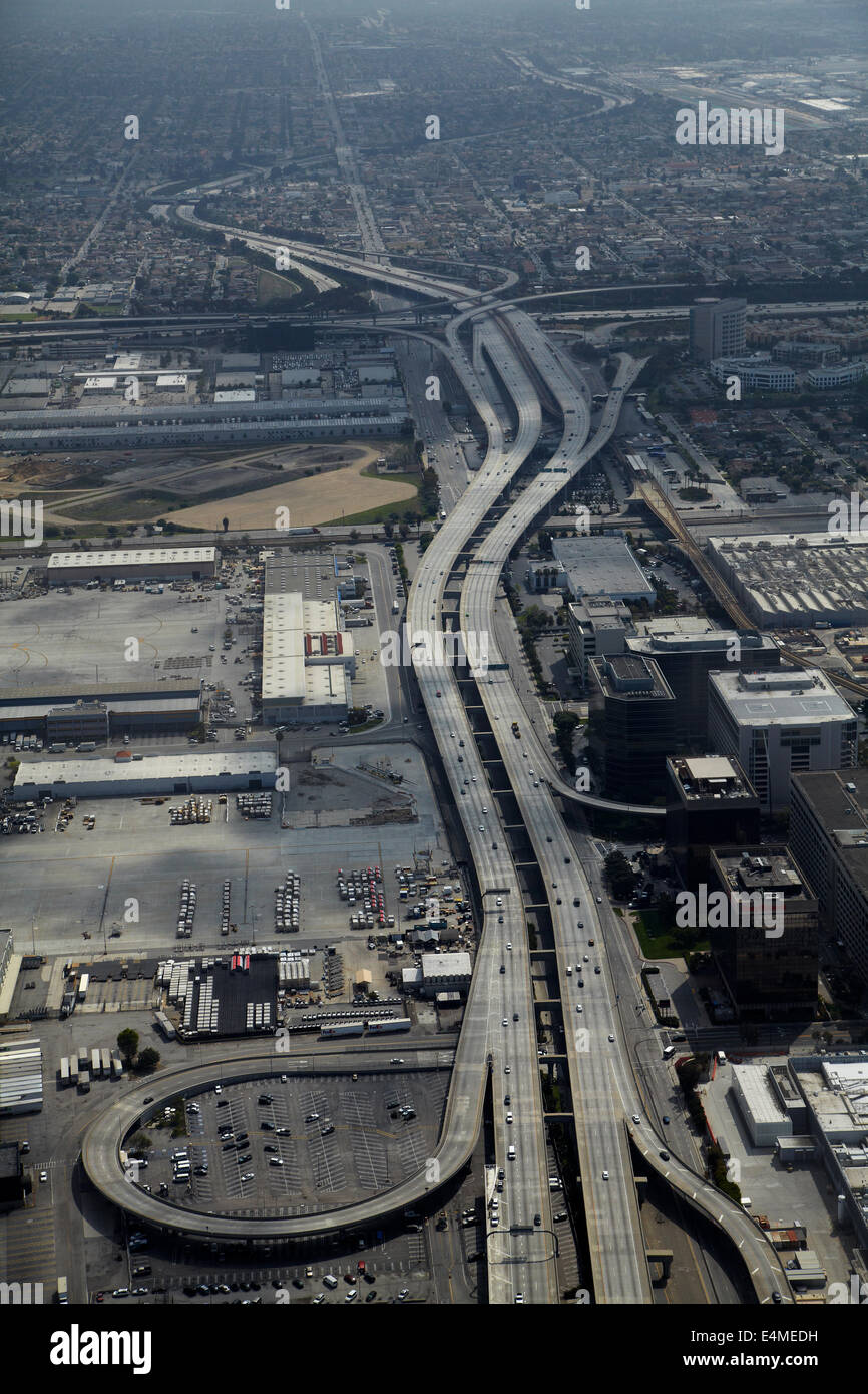 Glenn Anderson Freeway (I-105) by Los Angeles International Airport (LAX), Los Angeles, California, USA - aerial - Stock Image