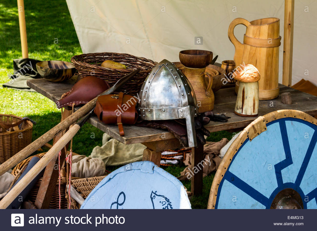 Assortment of Viking weaponry and armour - Stock Image