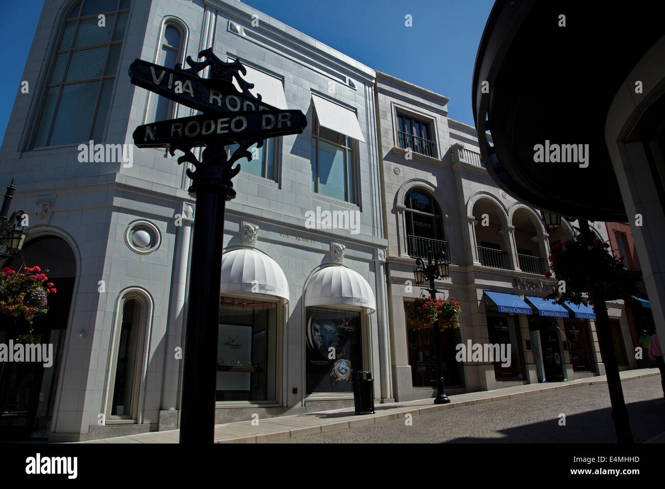 Rodeo Drive, luxury shopping street in Beverly Hills, Los Angeles, California, USA - Stock Image