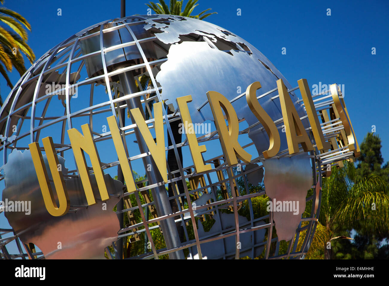 Universal Studios globe sign, Hollywood, Los Angeles, California, USA - Stock Image