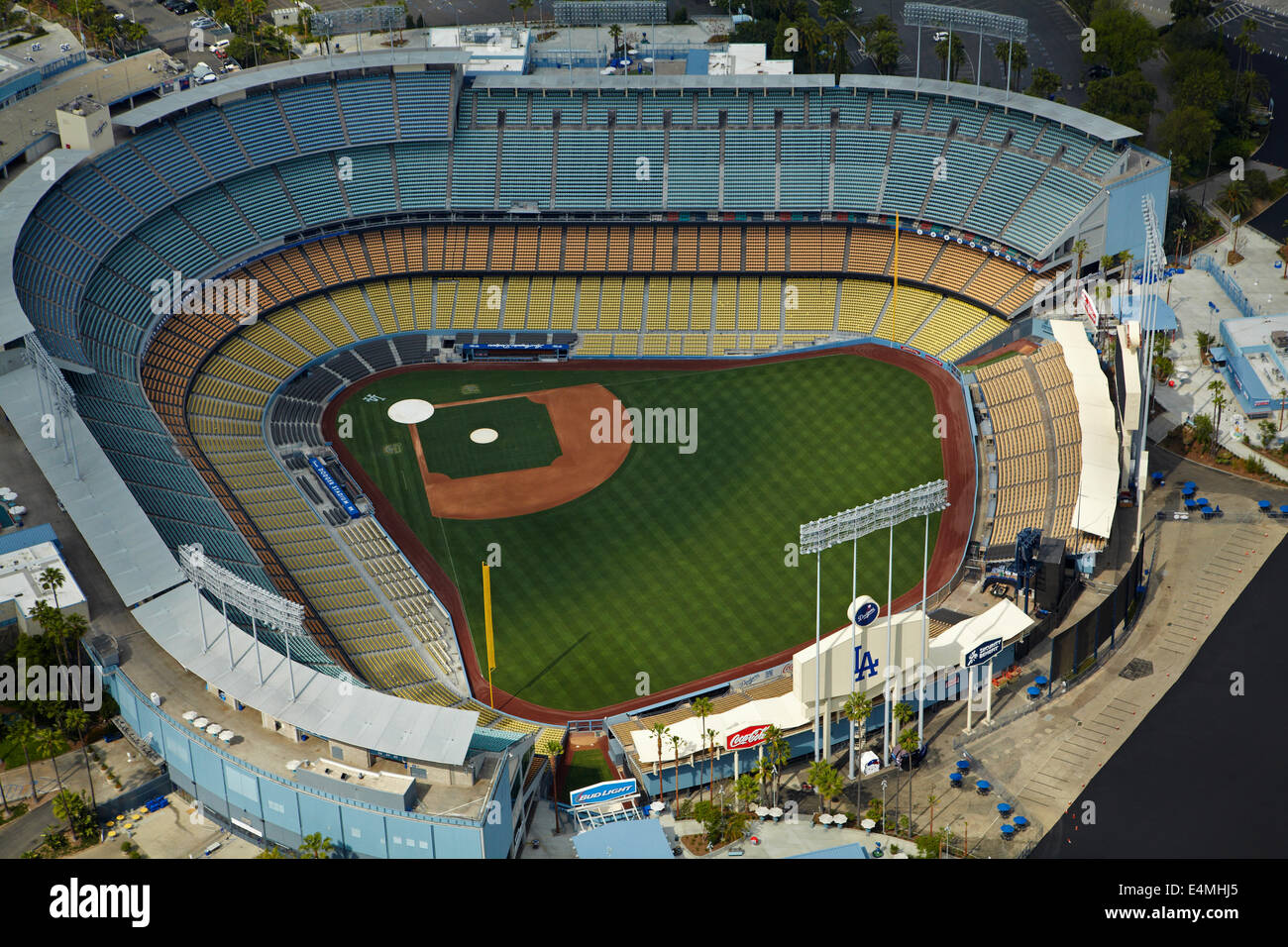 Dodger Stadium, home of the Los Angeles Dodgers baseball team, Los Angeles, California, USA - aerial - Stock Image