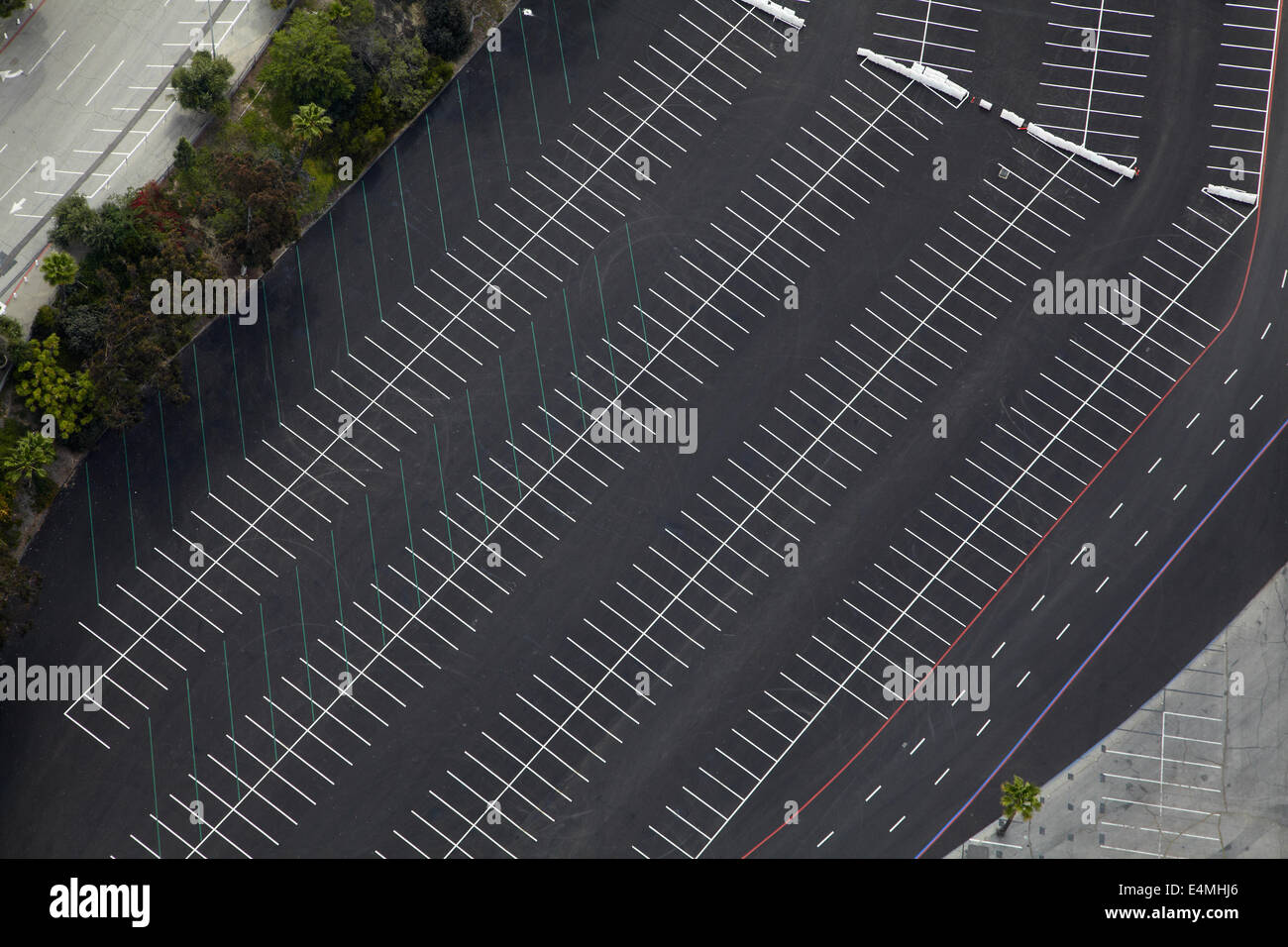 Car park at Dodger Stadium, home of the Los Angeles Dodgers baseball team, Los Angeles, California, USA - aerial - Stock Image