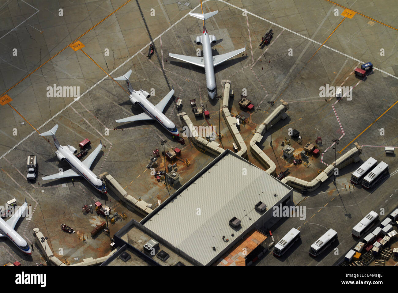 American Eagle planes and terminal at Los Angeles International Airport (LAX), Los Angeles, California, USA - aerial - Stock Image