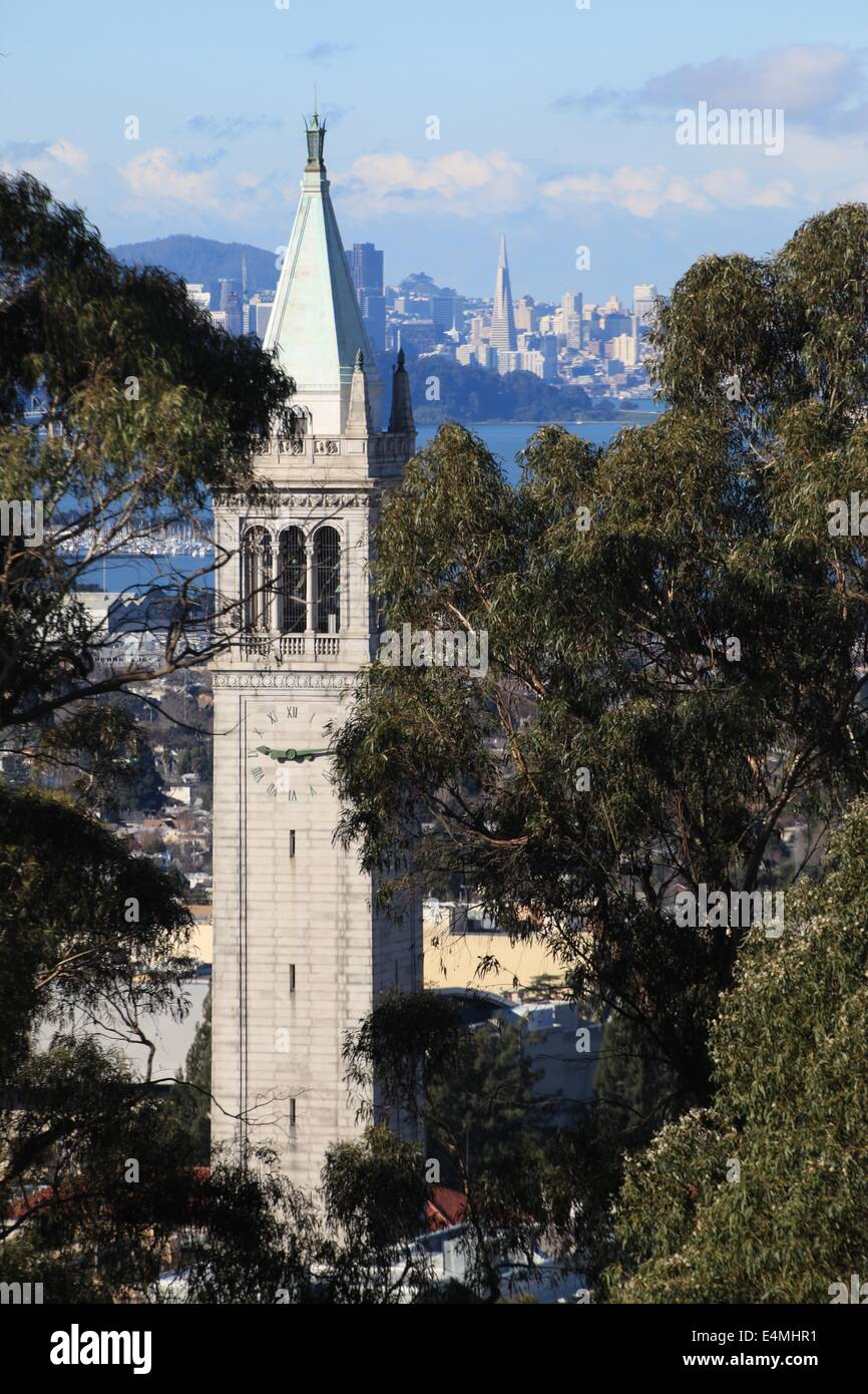 Sather Tower, also known at the Campanile, at the University of California at Berkeley, with San Francisco in the - Stock Image