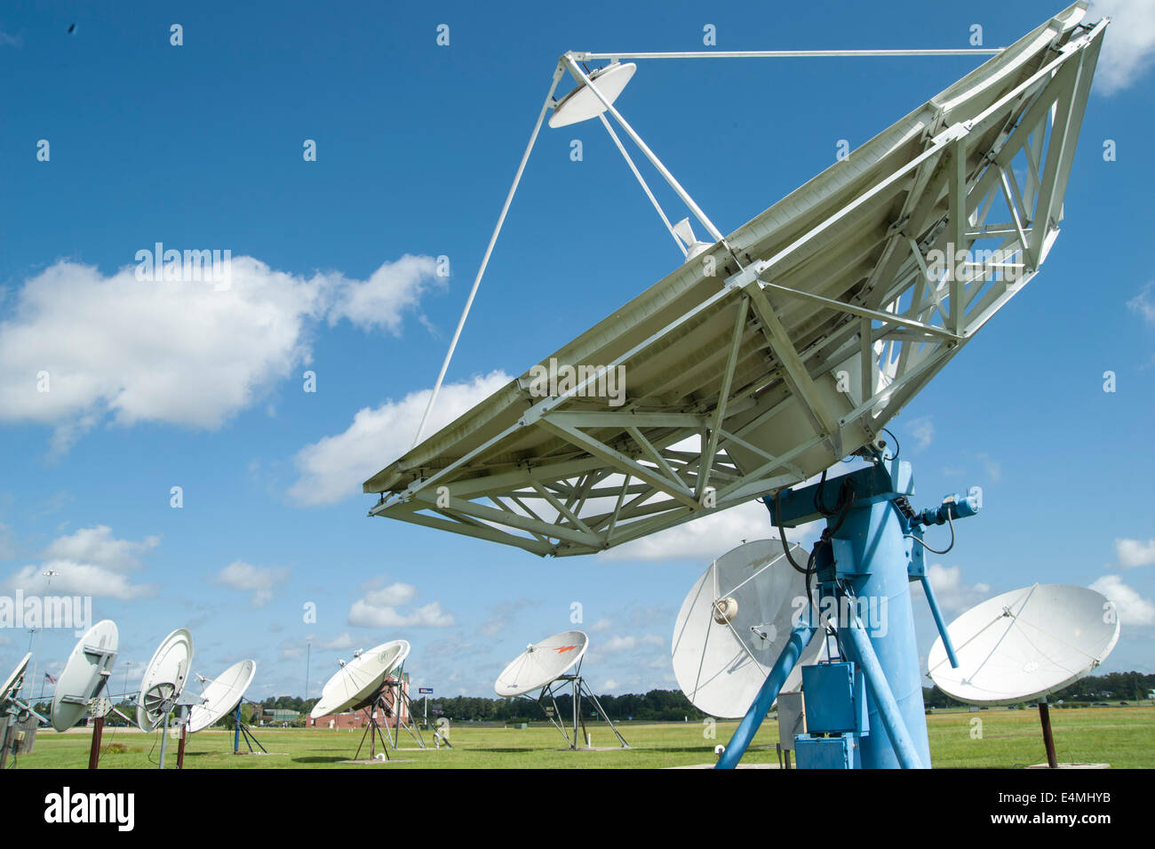 Array of sattelite receiver dishes - Stock Image