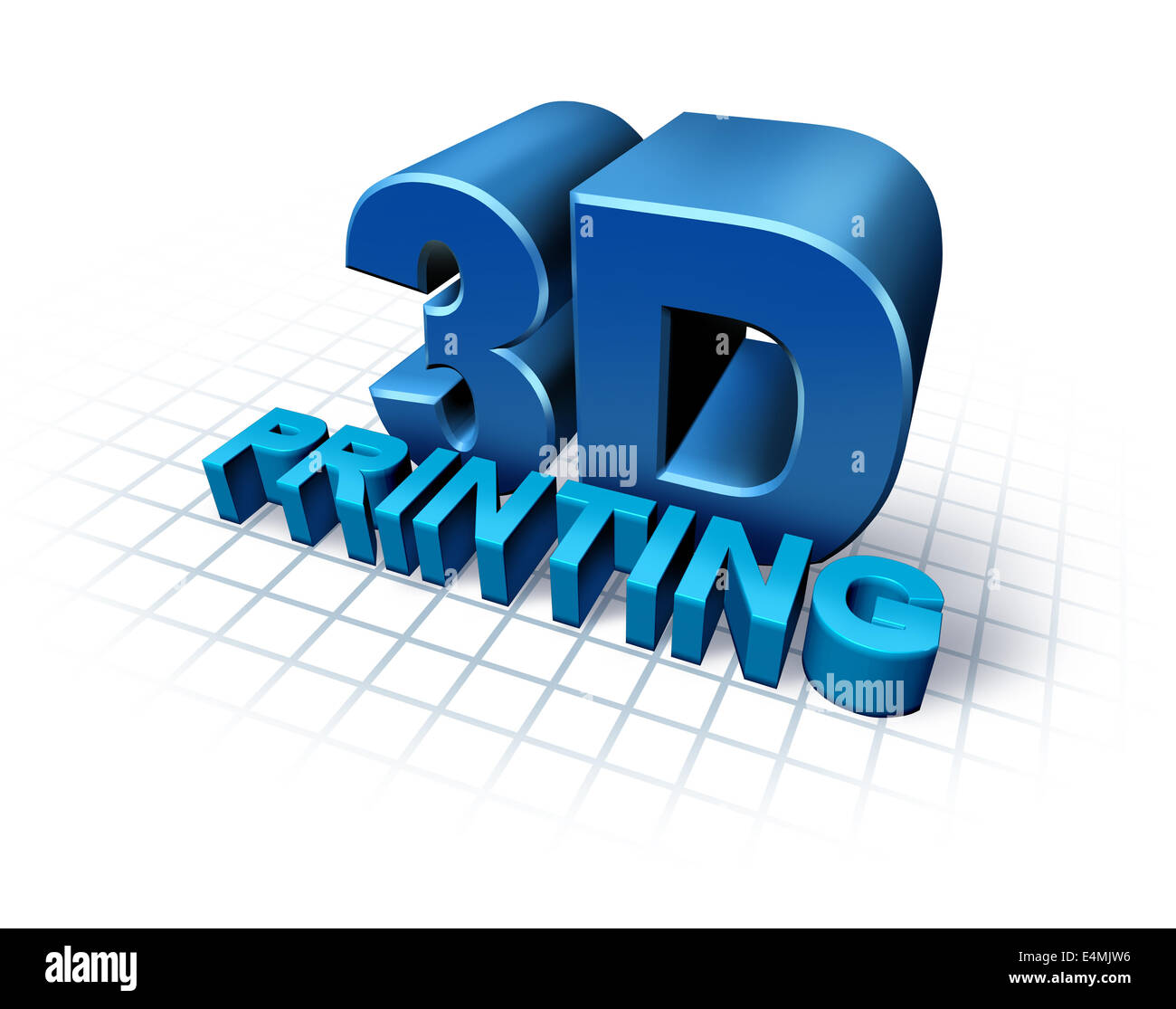 3D printing concept with three dimensional text as a symbol of new print technology duplicating objects for product - Stock Image