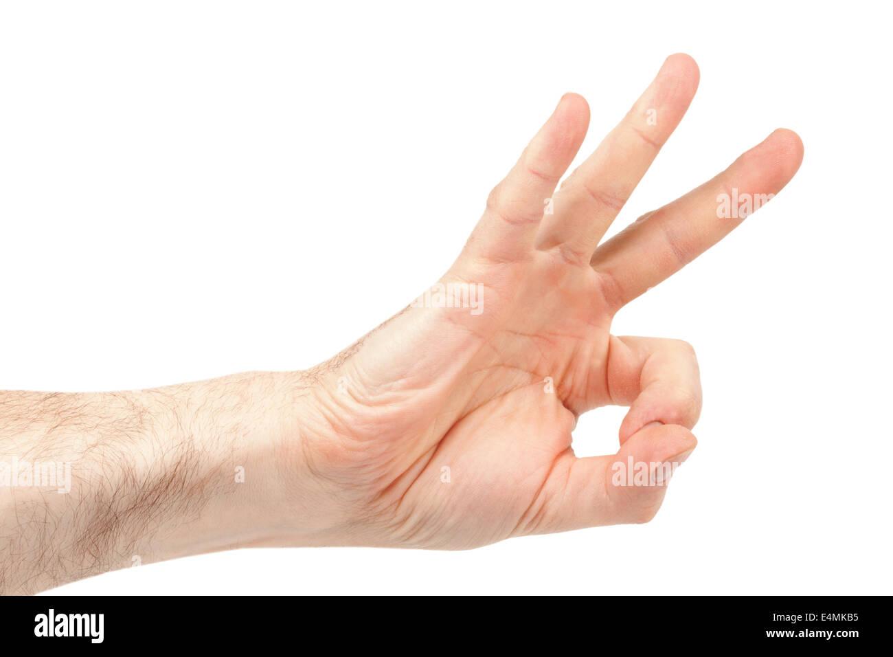 Hairy Men Hand shows ok - Stock Image