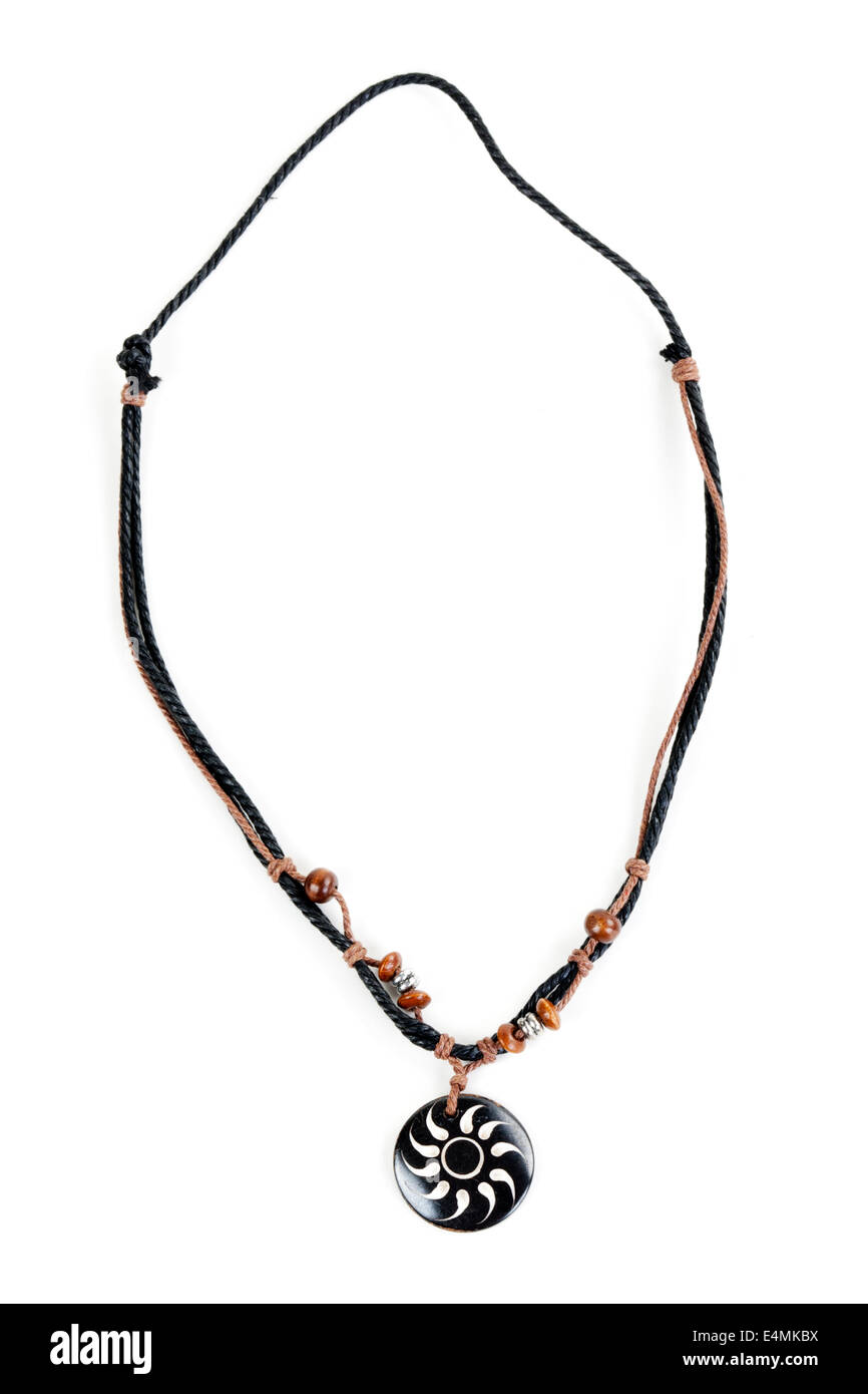 ethnic necklace with black cord - Stock Image
