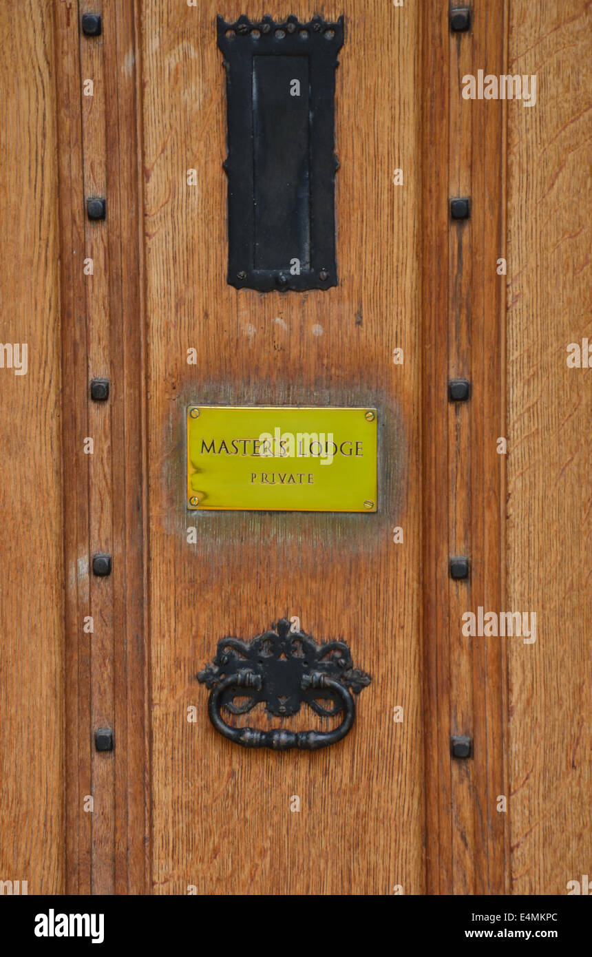 Door to masters lodge with knocker - Stock Image