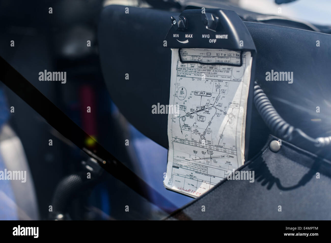 A navigation chart of the rescue helicopter DRF 'Christoph Berlin' on the helicopter hangar of the emergeny - Stock Image