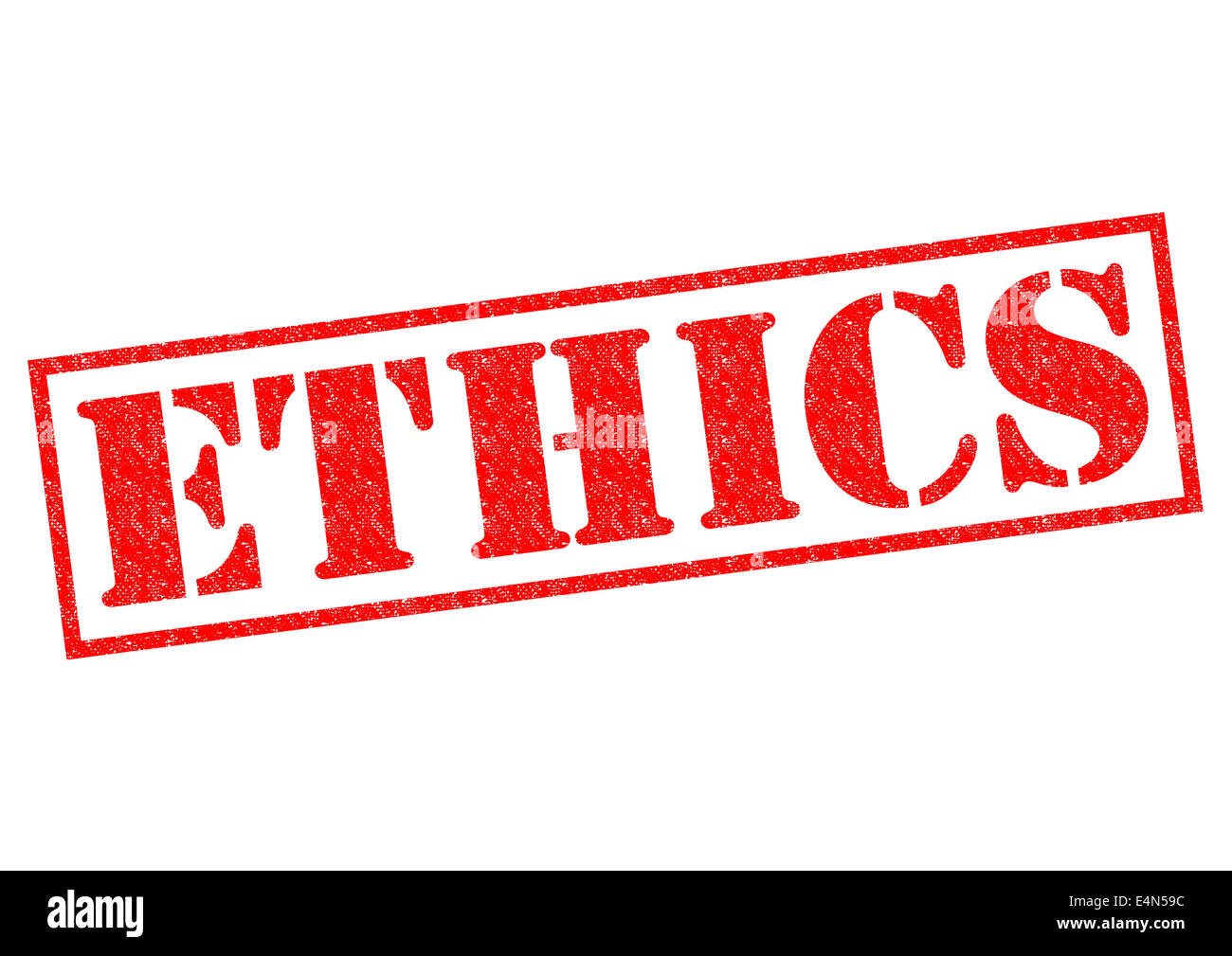 ETHICS red Rubber Stamp over a white background. - Stock Image