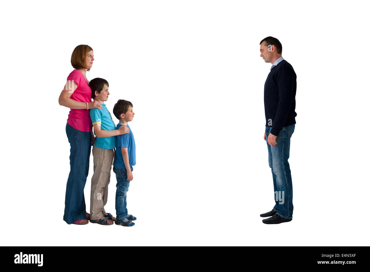 divorce concept family separation man woman and children isolated on a white background - Stock Image