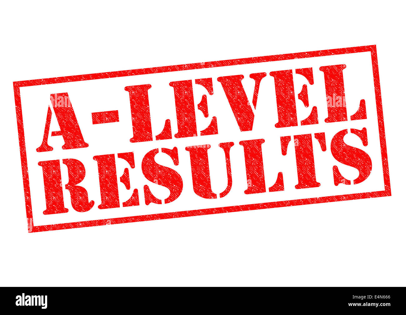 A LEVEL RESULTS red Rubber Stamp over a white background. - Stock Image