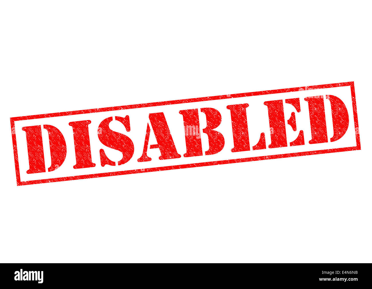 DISABLED red Rubber Stamp over a white background. - Stock Image