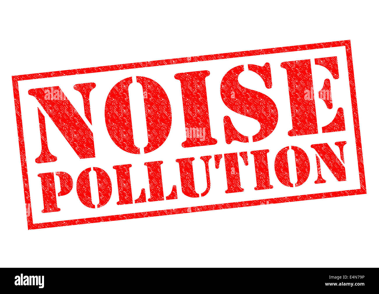 NOISE POLLUTION red Rubber Stamp over a white background. - Stock Image