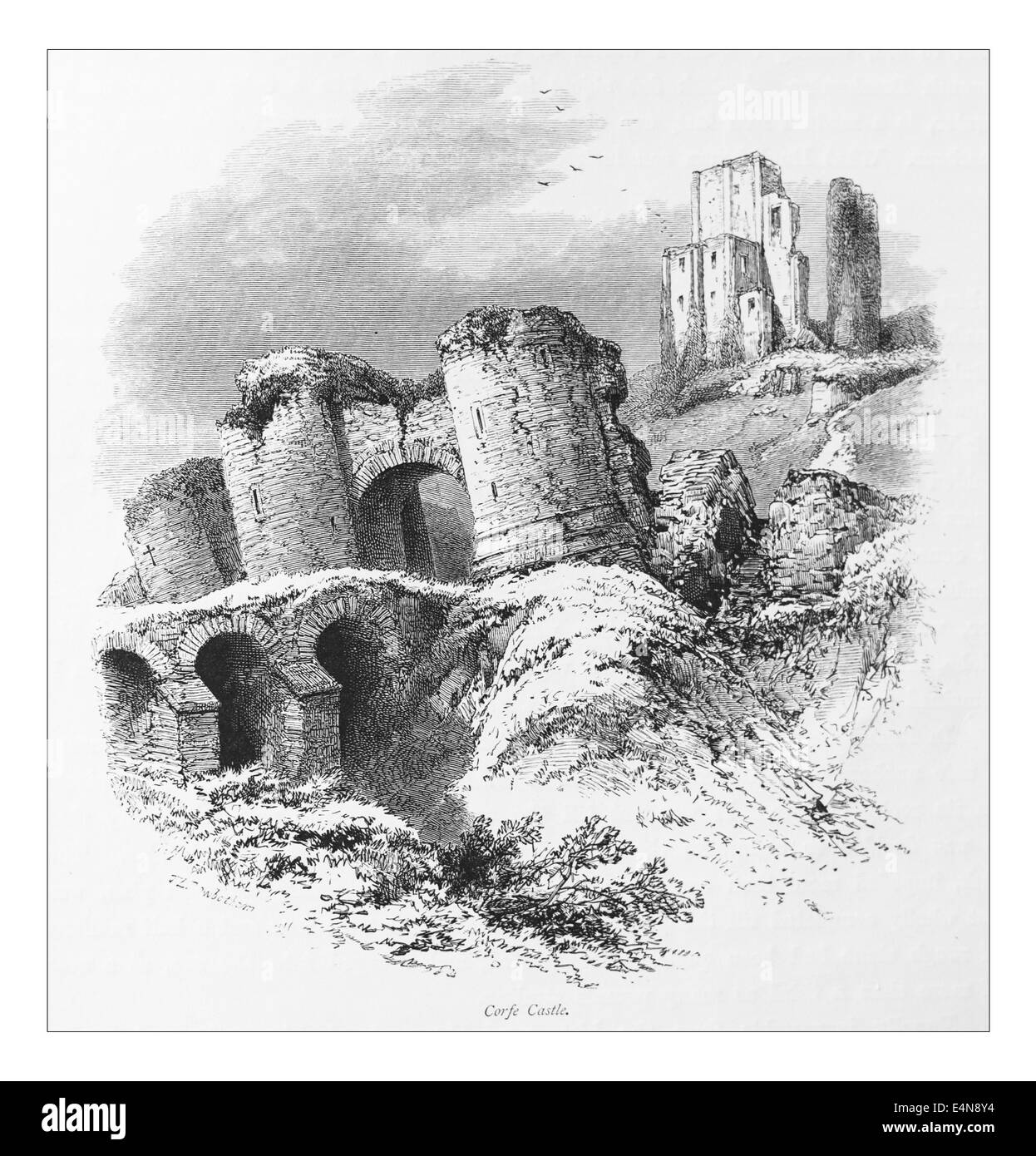 Corfe Castle _Illustration from 'The British isles - Cassell Petter & Galpin Part 10 Picturesque Europe. - Stock Image