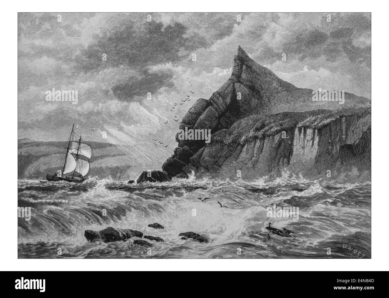 Entrance to Fowey Harbour, Cornwall _Illustration from 'The British isles - Cassell Petter & Galpin Part - Stock Image